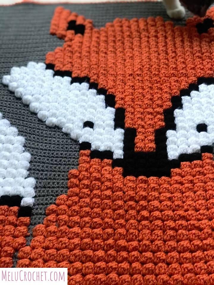 Melu Crochet: Baby Fox Bobble Blanket Pattern