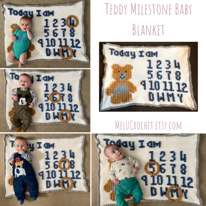 baby laying on a Crocheted blanket with a teddy bear and  'today I am' and numbers and letters for day week month year to mark to mark on baby's milestones